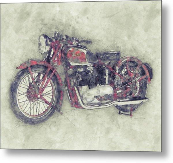 Triumph Speed Twin 1 - 1937 - Vintage Motorcycle Poster - Automotive Art Metal Print
