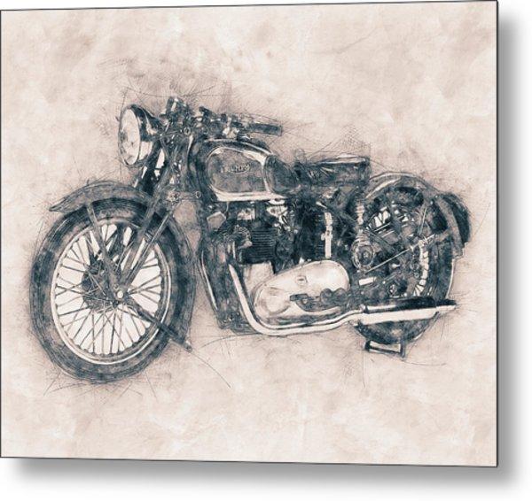 Triumph Speed Twin - 1937 - Vintage Motorcycle Poster - Automotive Art Metal Print