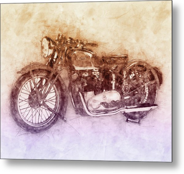 Triumph Speed Twin 2 - 1937 - Vintage Motorcycle Poster - Automotive Art Metal Print
