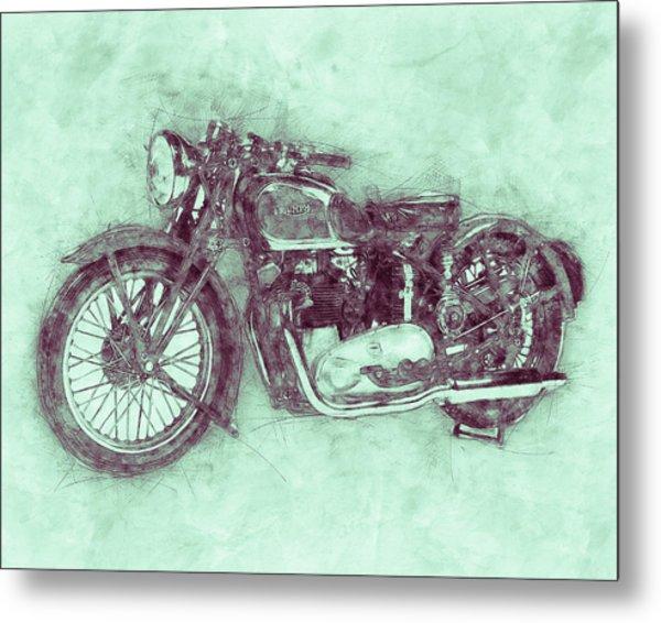 Triumph Speed Twin 3 - 1937 - Vintage Motorcycle Poster - Automotive Art Metal Print