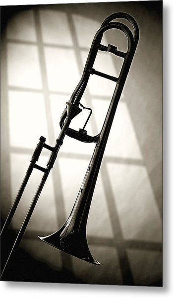 Trombone Silhouette And Window Metal Print