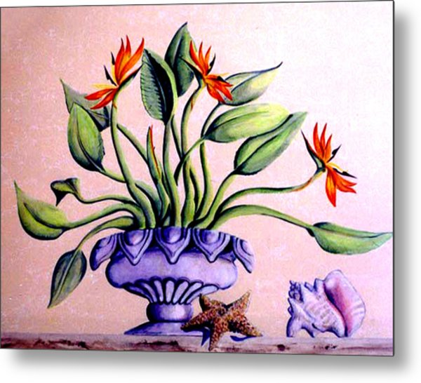 Metal Print featuring the painting Trompe L'oeil  Birds Of Paradise by Thomas Lupari