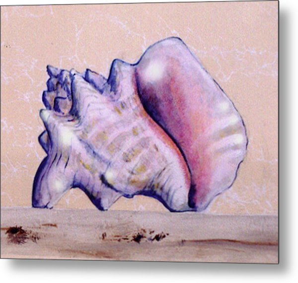 Metal Print featuring the painting Trompe L'oeil Conch Shell by Thomas Lupari