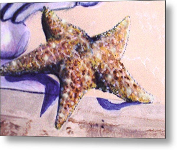 Metal Print featuring the painting Trompe L'oeil Star Fish by Thomas Lupari