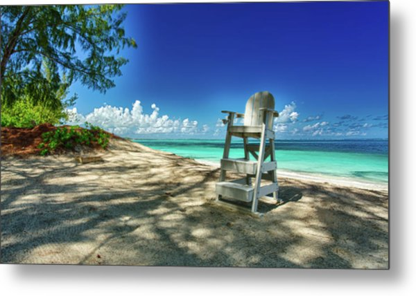 Tropical Beach Chair Metal Print