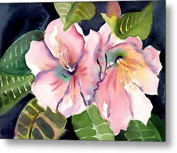 Tropical Flowers Metal Print by Janet Doggett