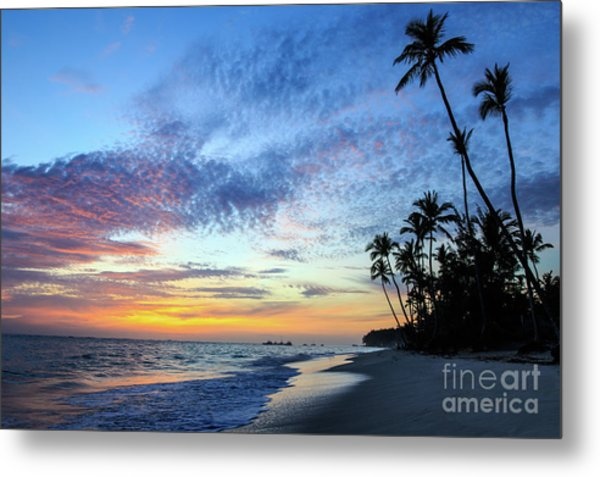 Tropical Island Sunrise Metal Print