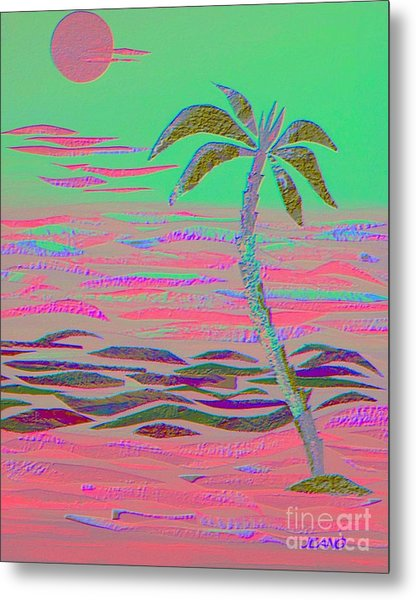 Hot Pink Coconut Palm Metal Print
