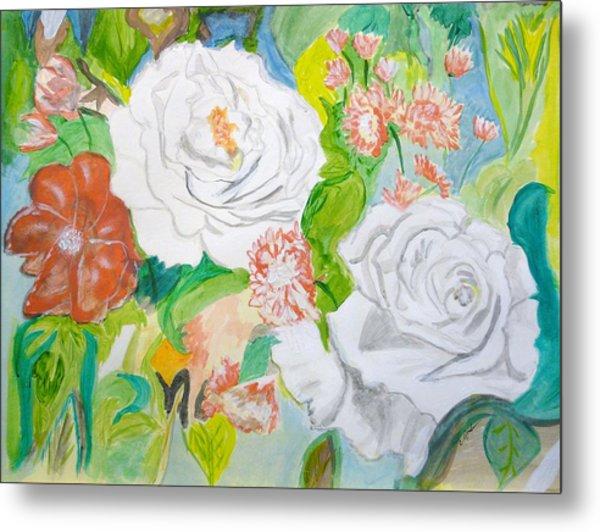 Tropical Rose Metal Print by Cathy Jourdan