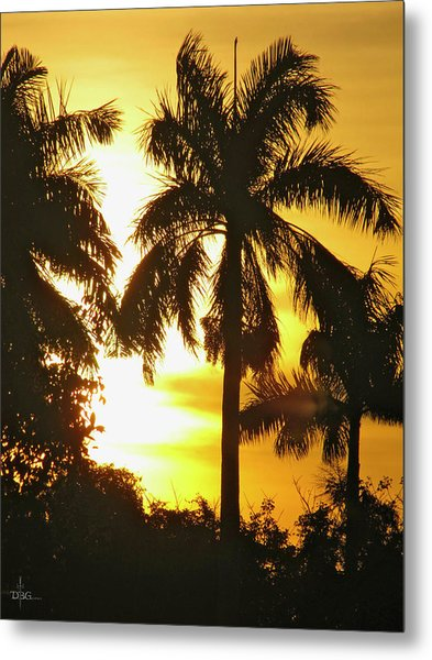 Tropical Sunset Palm Metal Print