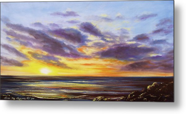 Tropical Sunset Panoramic Painting Metal Print