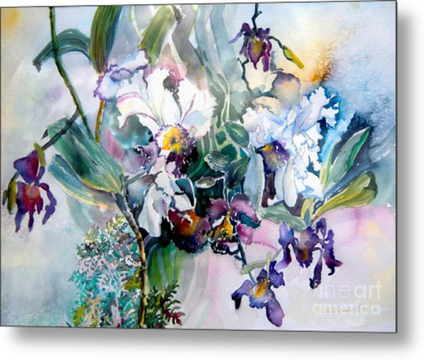 Tropical White Orchids Metal Print