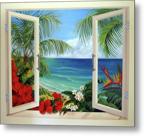 Tropical Window Metal Print