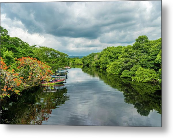 Cloudy Skies Over The River Metal Print
