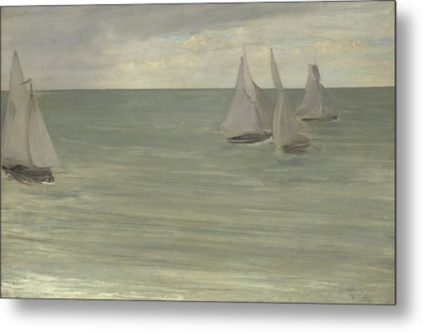 Trouville  Grey And Green, The Silver Sea Metal Print