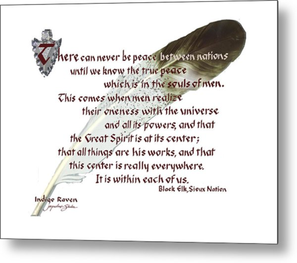 True Peace By Black Elk Metal Print