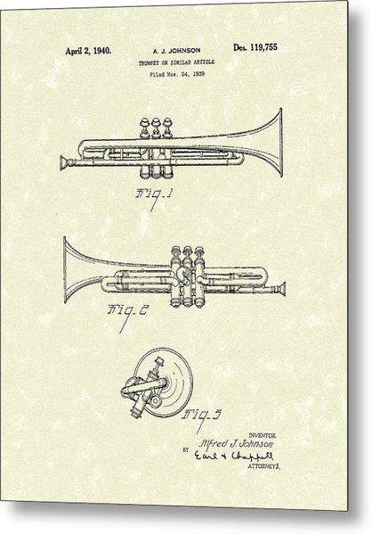 Trumpet 1940 Patent Art Metal Print