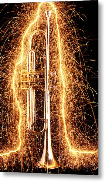 Trumpet Outlined With Sparks Metal Print