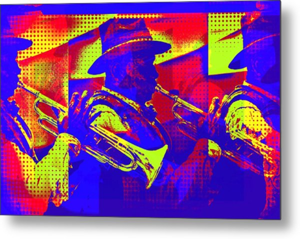 Trumpet Player Pop-art Metal Print