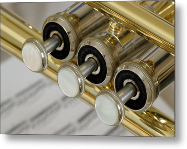 Trumpet Valves Metal Print by Frank Tschakert