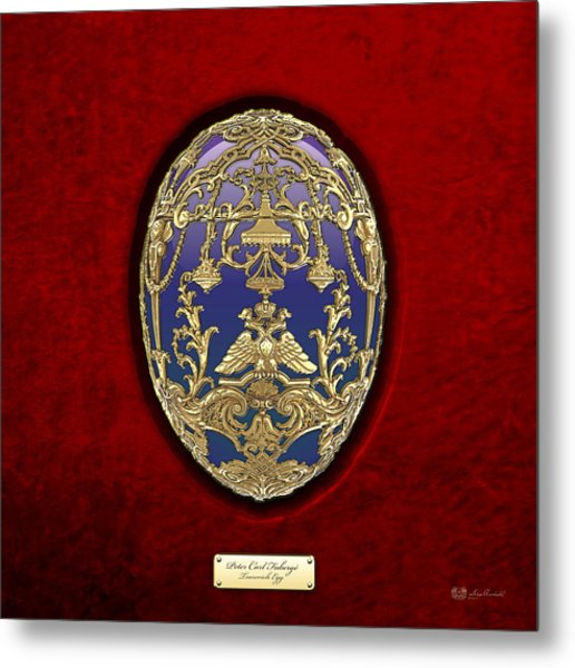 Tsarevich Faberge Egg On Red Velvet Metal Print