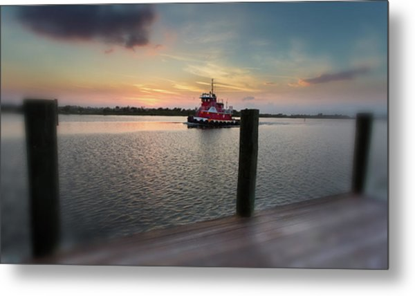 Tug Boat Sunset Metal Print