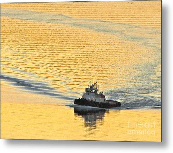 Tugboat At Sunset Metal Print