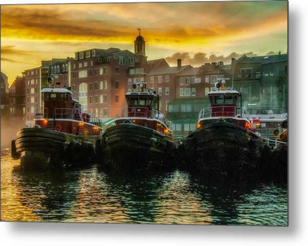Tugboats In Portsmouth Harbor At Dawn Metal Print