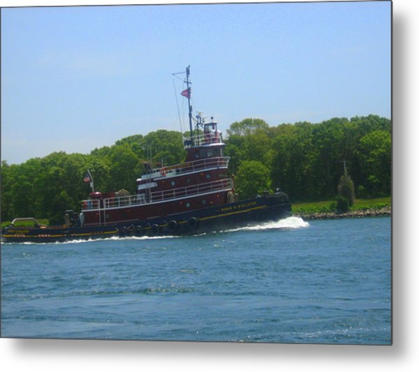 Tugging Along The Canal Metal Print