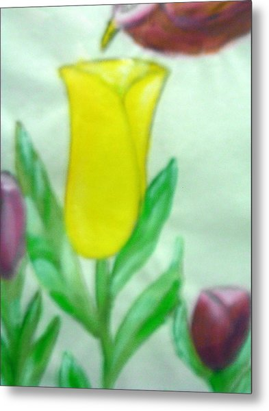 Tulip And Hummingbird Metal Print by BJ Abrams