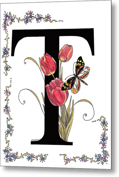 Tulip And Tiger Pierid Butterfly Metal Print