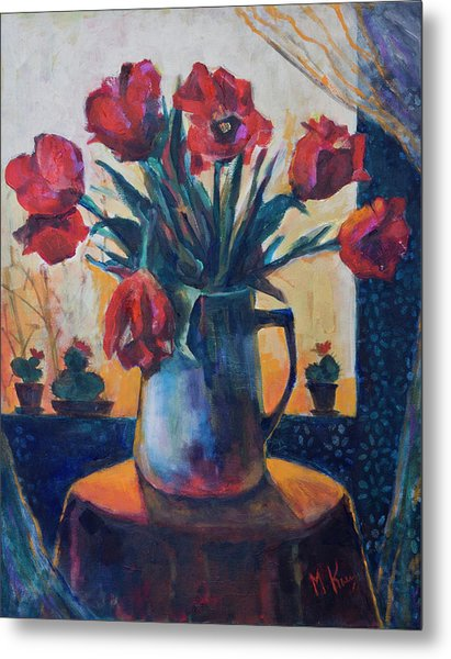 Tulips And Cacti Metal Print