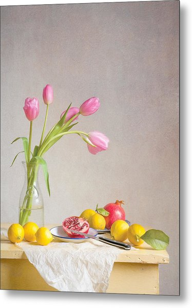 Tulips And Fruit Metal Print