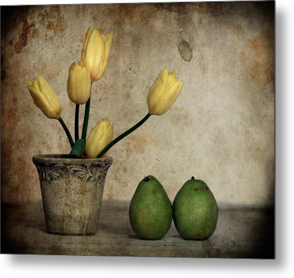 Tulips And Green Pears Metal Print by Levin Rodriguez