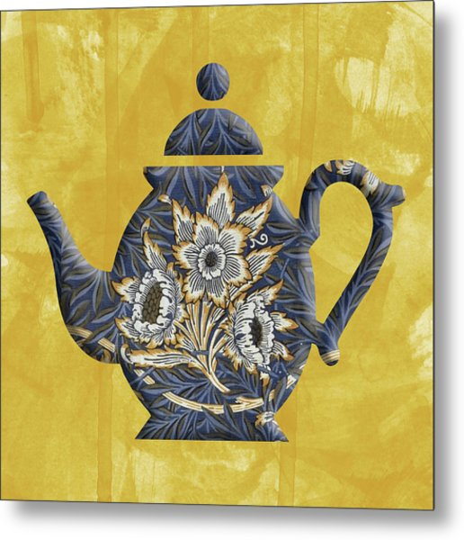 Tulips And Willow Pattern Teapot Metal Print