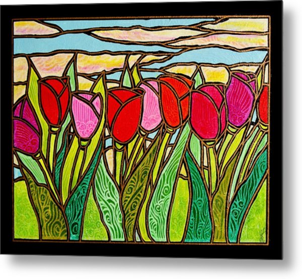 Tulips At Sunrise Metal Print