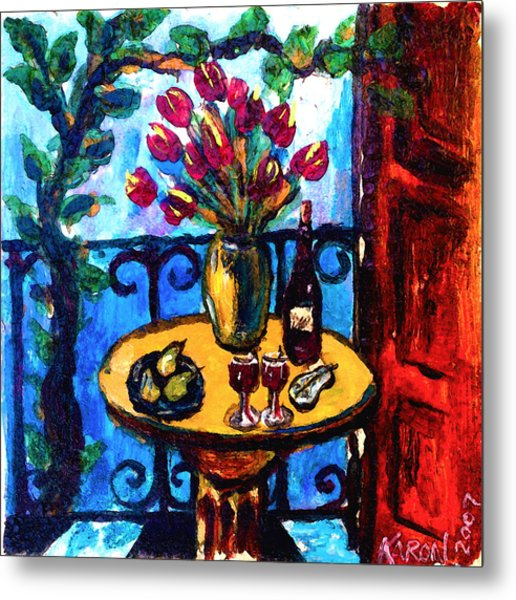 Tulips Wine And Pears Metal Print