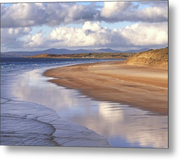 Tullan Strand - Clouds Reflected In The Sea, The Beach And Donegal Hills Metal Print