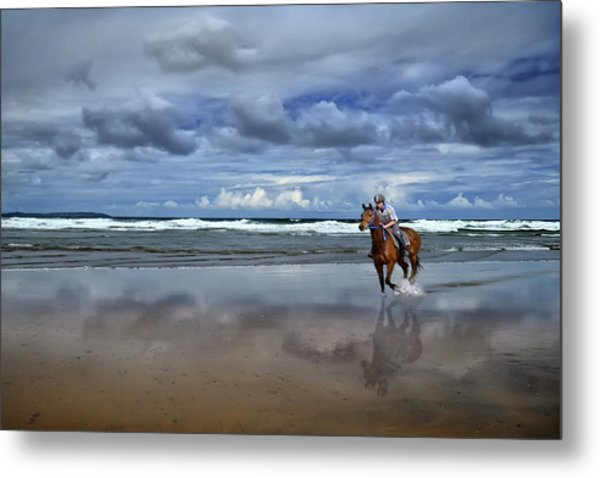 Tullan Strand - Horseriding In The Surf Metal Print