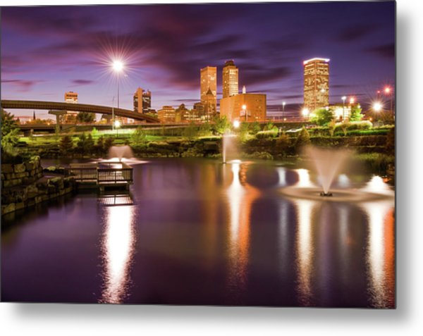 Metal Print featuring the photograph Tulsa Lights - Centennial Park View by Gregory Ballos
