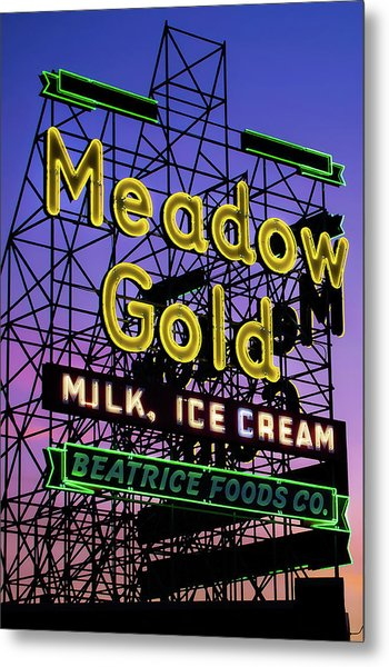 Metal Print featuring the photograph Tulsa Oklahoma Meadow Gold Neon - Route 66 Photo Art by Gregory Ballos