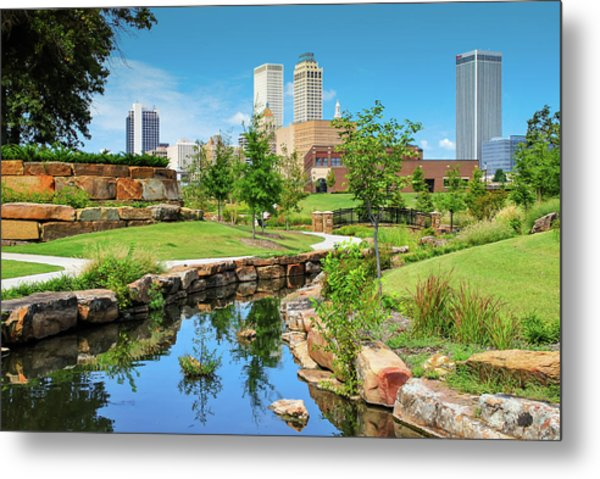 Metal Print featuring the photograph Tulsa Oklahomka Skyline View From Central Centennial Park by Gregory Ballos