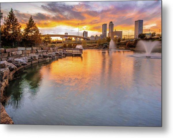 Tulsa Skyline Sunset - Oklahoma Cityscape Metal Print