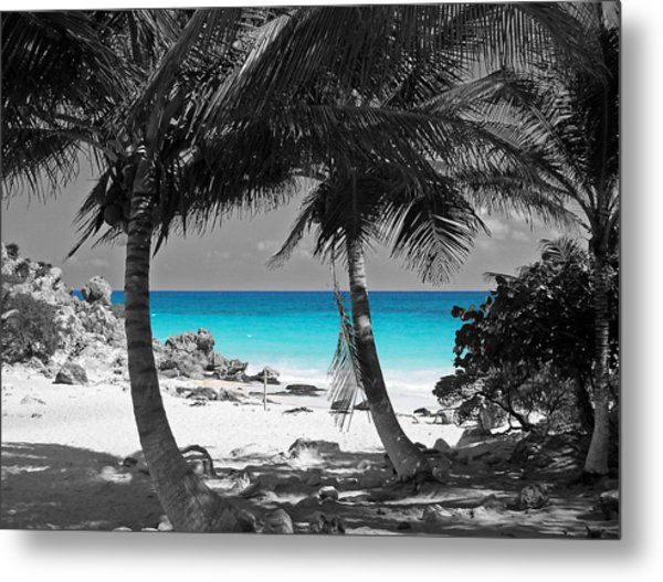 Tulum Mexico Beach Color Splash Black And White Metal Print