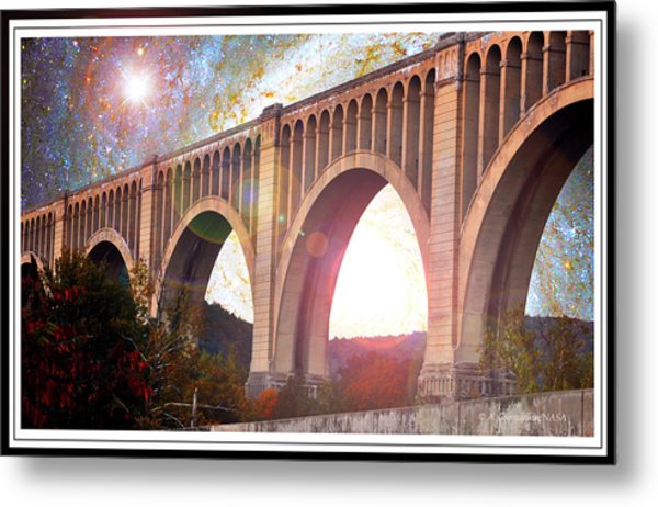 Tunkhannock Viaduct, Nicholson Bridge, Starry Night Fantasy Metal Print
