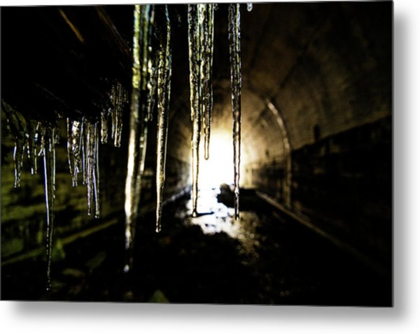 Tunnel Icicles Metal Print