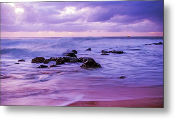 Turbulent Daybreak Seascape Metal Print
