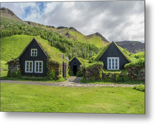Turf Roof Houses And Shed, Skogar, Iceland Metal Print