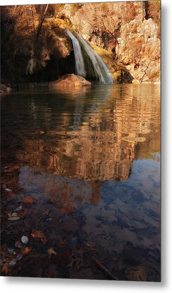 Turner Falls Autumn Reflections Metal Print by Iris Greenwell