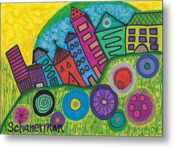 Turning Funky City On Its Ear Metal Print